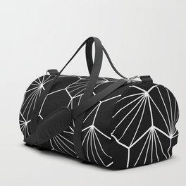 Hexagonal hive black white pattern Duffle Bag