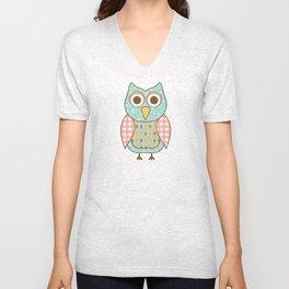 Owl on Tree Branch Unisex V-Neck