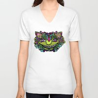 cheshire cat V-neck T-shirts featuring CHESHIRE by AZZURRO ARTS