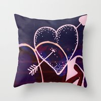 battlefield Throw Pillows featuring Love is a Battlefield... by Jennifer Trimble