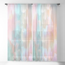 Candy Rainbow Glitch Fall #abstractart Sheer Curtain
