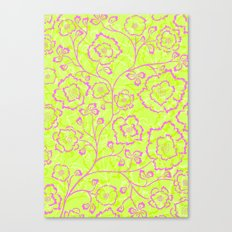 Spring Flowers in Pink and Green Canvas Print