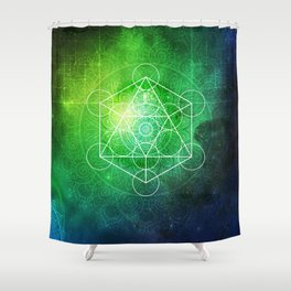 Abstract Deep Space Portal Blue-Green Shower Curtain