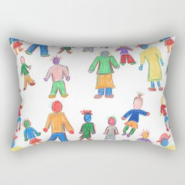 Multicolor People Multiples Rectangular Pillow