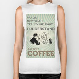 BUT FIRST COFFEE vintage poster Biker Tank
