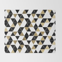 Modern Black, White, and Faux Gold Triangles Throw Blanket