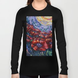 Impressionist Field Poppies by OLena Art Long Sleeve T-shirt