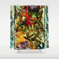 metallic Shower Curtains featuring Metallic by Vargamari