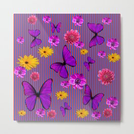 PURPLE BUTTERFLIES ASSORTED FLOWERS Metal Print