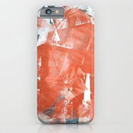 Interrupt [1]: a pretty minimal abstract acrylic piece in pink white and blue by Alyssa Hamilton Art iPhone Case