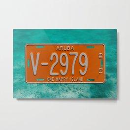 1999 Aruba License Plate One Happy Island Tag Metal Print