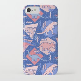 Nineties Dinosaurs Pattern  - Rose Quartz and Serenity version iPhone Case