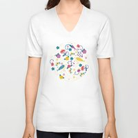 garden V-neck T-shirts featuring Garden Birds by Anna Deegan