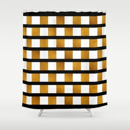 Black White and Gold Shower Curtain