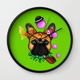 Drunk Dog (Green) Wall Clock