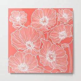Coral Poppies Metal Print