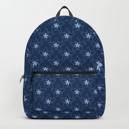 Ditsy Star Flower Motif Japanese Style Hand Drawn Indigo Blue Floral Backpack