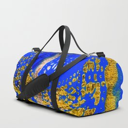 Royal Blue and Gold Abstract Lace Design Duffle Bag