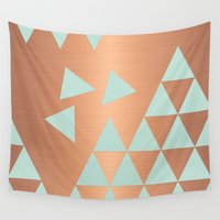 copper Wall Tapestries featuring Copper & Mint by cafelab