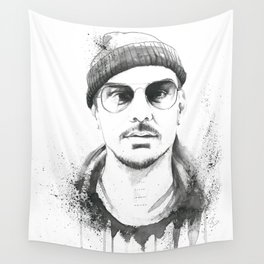 Shannon Leto Watercolor Black & White Wall Tapestry