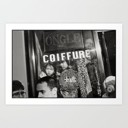 Family watching the chinese new year parade through their window shop, Paris 13eme 2014 Art Print