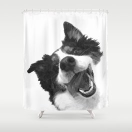 Black and White Happy Dog Shower Curtain