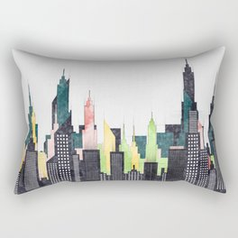 American City Skyline With Buildings And Skyscrapers Rectangular Pillow