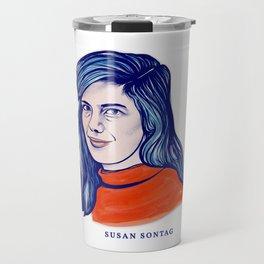 Portrait of the Writer, Philosopher and Political Activist Susan Sontag Travel Mug