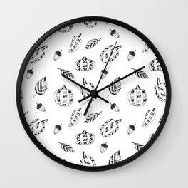 Hand drawn black white tribal geometrical pumpkin floral Wall Clock