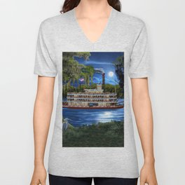 Mystcal Moonlight Cruise Down the Bayou Unisex V-Neck