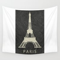 paris Wall Tapestries featuring Paris by NJ-Illustrations