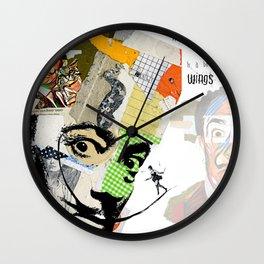 Salvador Dali Colorful Mixed Media Collage Art Wall Clock