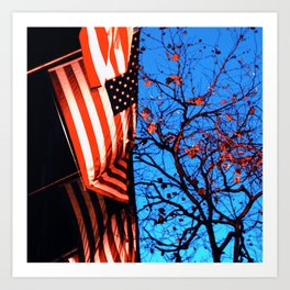 Flags and Trees Art Print