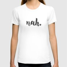 NAH Marble Quote White SMALL Womens Fitted Tee