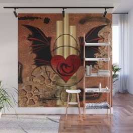 Heart with dragon and wings Wall Mural