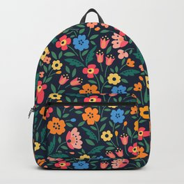 Cute floral pattern in the small flowers. Print in folklore style. Backpack