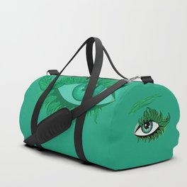 Spring eye with green leaves Duffle Bag