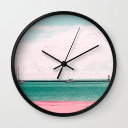 Pink and Blue Sailing Wall Clock