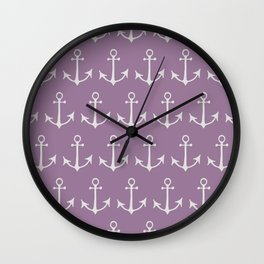 Nautical Anchors (Boat Anchors) - Purple Gray Wall Clock
