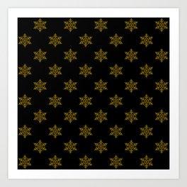 gold flakes on black pattern Art Print