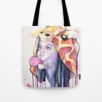 bubblegum Tote Bags featuring Bubblegum by Mia Hawk