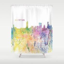 Austin Texas Skyline Impressionistic Splash Shower Curtain