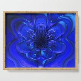 Ice Blue Winter Fantasy Flower Serving Tray