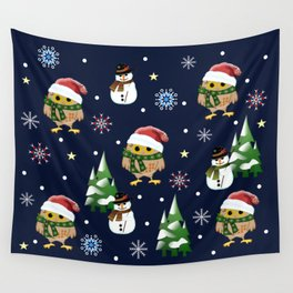 Cute Xmas pattern design with owls and snowmen Wall Tapestry