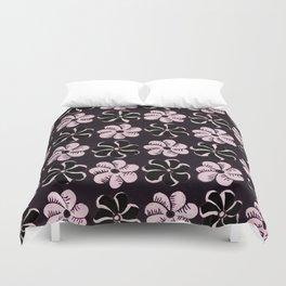 Floral design Black & Light Fuchsia Flowers Print Duvet Cover