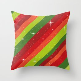 Christmas Pattern, Green, Red, Stars, Snowflakes Throw Pillow