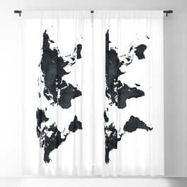 World Map in Black and White Ink on Paper Blackout Curtain