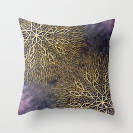 Gold Mandalas on Violet Background Throw Pillow
