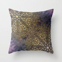 Gold Mandalas on Violet Background Throw Pillow