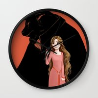 beauty and the beast Wall Clocks featuring Beauty and the Beast by Courtney Godbey